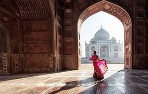 Woman                                                        standing in                                                        doorway looking at                                                        Taj Mahal